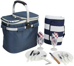 Picnic Basket for 2 Beautiful Insulated Tote Bag Kit Insulated Lunch Tote for Women & Men Pi ...
