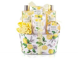 Bath & Shower Gift Set, Lemon Citrus Scent, Spa Gift Basket Kits for Women & Men, Best G ...