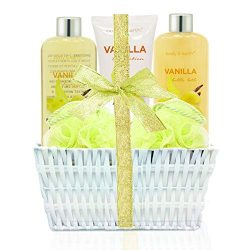 Spa Gift Kit for Women: Home Spa Basket Bath Set Scented with Vanilla Handmade Basket Wrapped Lu ...