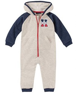 Tommy Hilfiger Baby Boys Coverall, Oatmeal/Navy, 3-6 Months