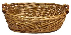 Admired By Nature Split Woody Shape w/Wood Ear Handles Tray, Gift, Willow Basket, Oval-Honey