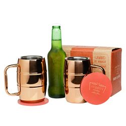 Brew Science Double Walled Stainless Steel Copper Plated Insulated Beer Mugs with Beautiful Arti ...