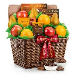 GiftTree Fresh Fruit & Godiva Happy Holidays Chocolate Gift Basket   Includes Gourmet Chocol ...