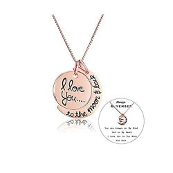 Exweup Rose Gold Moon Necklace for Women Stainless Steel Necklace I Love You to The Moon and Bac ...