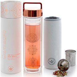 Teabloom All-Purpose Beverage Tumbler – 15 oz / 450 ml Insulated Glass Bottle – Tea, ...