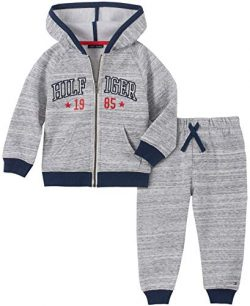Tommy Hilfiger Baby Boys 2 Pieces Hooded Jog Set, Gray, 6-9 Months