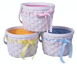 Vintiquewise QI003407.3 Bows Set of 3 White Painted Lined Wooden Easter Gift Baskets with Bright ...