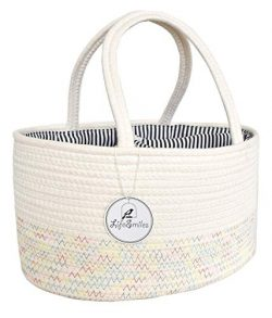 LifeSmiles Baby Diaper Caddy Organizer – Cotton Rope Basket, Baby Basket for Baby Shower G ...