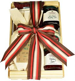Gourmet Breakfast Gift Crate with Buttermilk Pancake Mix, Pure Maple Syrup, Holiday Jam and More ...