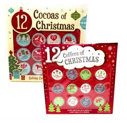 12 Coffees of Christmas & 12 Cocoas of Christmas Gift Set – 24 K Cups Total – Co ...