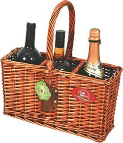 Indoor/Outdoor Wicker Willow Basket 3 Bottle Wine/Champagne/Beverage Tote
