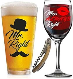Mr. Right and Mrs. Always Right Glasses -with FREE Bottle Opener – Funny Wedding Gifts  ...