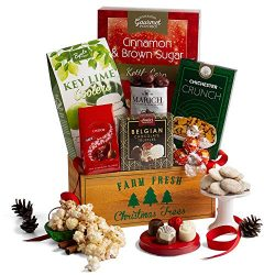 2019 Christmas Gift Crate – Holiday Gift Basket of Chocolate, Candy, Cookies, and Popcorn