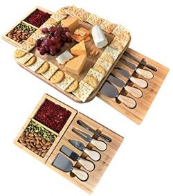 iBambooMart Cheese Board and Knife Set, Wooden Charcuterie, Bamboo Platter & Serving Meat Tr ...