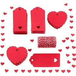 Sumind 200 Pieces Red Paper Tags Hanging Gift Tags Name Labels with 25 m Twines for Valentine ...