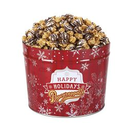 Popcornopolis Gourmet Popcorn 1.26 Gallon Tin with Zebra Popcorn, Red Christmas Tin with Silver  ...