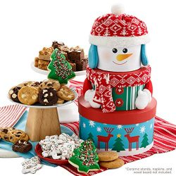 Mrs. Fields Cookies Traditional Snowman Gift Tower, (45 Count) Includes: 24 Nibblers Cookies,18  ...