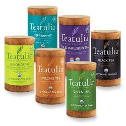 Teatulia Organic Tea Sampler Gift Set, 96 Premium Pyramid Tea Infuser Bags in 6 Assorted Varieti ...