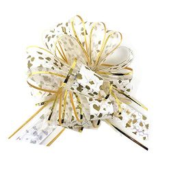 10 PCS Pull Bow,Organza,Large, 6 Inches,Wedding Decorations, Christmas Gift Ribbons, 10 pcs (Whi ...