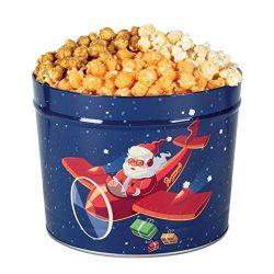 Popcornopolis Gourmet Popcorn 2 Gallon High Flying Santa Tin – Caramel, Kettle, Cheddar