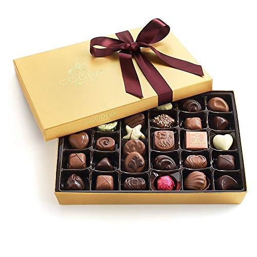 Godiva Chocolatier Assorted Chocolate Gold Gift Box with Wine Ribbon, Great for Gifting, Premium ...