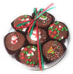 Olde Naples Christmas Chocolate Dipped Oreo Cookies, Hand decorated Gift Basket with 7 Oreo Cook ...