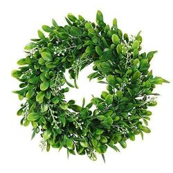 Adeeing Round Wreath Artificial Wreath Green Leaves for Door Wall Window Decoration – Wedd ...