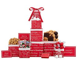 Wine Country Gift Baskets Merry Christmas Candy Lover's Gift Tower Loaded With Ghirardelli ...