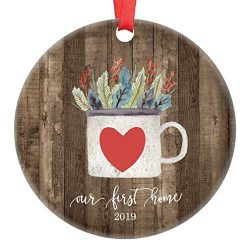 First Home Ornament Country Christmas 2019 Keepsake Newlywed Wedding Real Estate Client Housewar ...