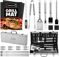 ROMANTICIST 23pc Must-Have BBQ Grill Accessories Set with Thermometer in Case – Stainless  ...