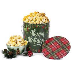 Happy Holidays Reindeer Popcorn Tin (People's Choice Mix, 1 Gallon)