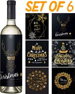 Christmas Wine Stickers Set of 6 – Black and Gold Wine Labels – Funny Christmas Wine ...