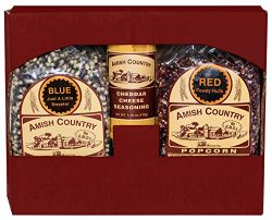 Amish Country Popcorn – 2 (2 Lb Bags) Red & Blue Kernels and Cheddar Cheese Seasoning  ...