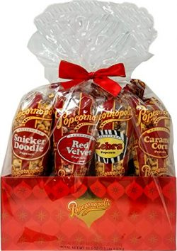 Popcornopolis 7-Cone Variety Popcorn Gift-Basket, Gluten-Free (Includes 1 Cone Each of Caramel,  ...