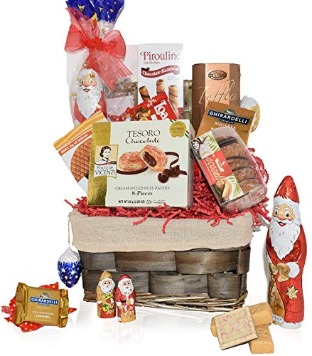 Christmas Basket – Santa, Chocolate, Truffles, Gourmet, Food, Holiday Gift Variety Care Pa ...