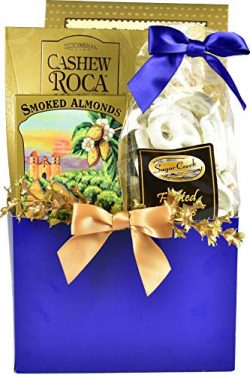 The Elegant Gourmet, Hanukkah Gift Basket with Cookies, Fudge Pretzels, Cashew Rocas, Smoked Alm ...