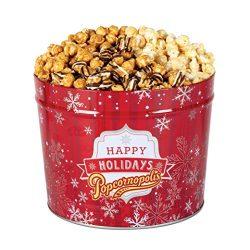 Popcornopolis Gourmet Popcorn 2 Gallon Red Snowflakes Tin – Premium Including Zebra, Caram ...