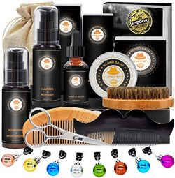 Upgraded Beard Grooming Kit w/Beard Conditioner,Beard Oil,Beard Balm,Beard Brush,Beard Shampoo/W ...