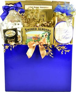 The Elegant Gourmet, Hanukkah Gift Basket with Cookies, Fudge Pretzels, Almond and Cashew Rocas, ...