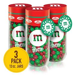 M&M'S Milk Chocolate Christmas Candy Gift, 13-Ounce Jar (Pack of 3)