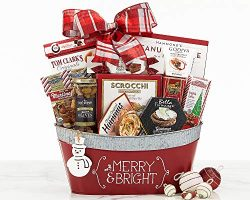 Merry Christmas and Holidays Gift Basket With Godiva, Ghirardelli & Rocky Mountain By Vans Gifts
