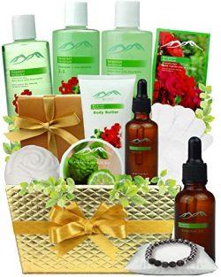 Bath and Body Spa Gift Baskets Pampering Gift Set. Bergamot Geranium Aromatherapy Spa Baskets fo ...