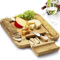 Mitbak Cheese Board Tray with 4 Cheese Knives | Bamboo Charcuterie Board Serving Tray | Cutting  ...