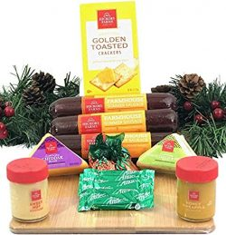 Hickory Farms Gift Basket and Bamboo Cutting Board Gift Set – Gourmet Christmas Edition wi ...