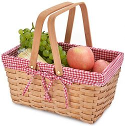 Picnic Basket Natural Woven Woodchip with Double Folding Handles | Easter Basket | Storage of Pl ...