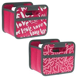 meori Valentine's Foldable Mini Box Pink Berry Day 2-Pack Desk Organizer Jewelry Gift Shel ...