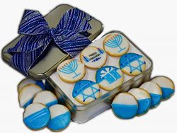 Hanukkah gift basket Tin filled with 18 individually hand decorated Hanukkah designed blue color ...