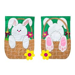 Gifted Living Easter Bunny Basket Coming and Going Two Sided Applique Garden Flag