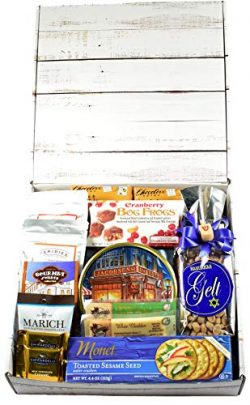 A Happy Hanukkah Care Package – Celebrate Hanukkah with Themed Snack Mix, Meat and Cheese, ...