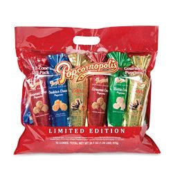 Popcornopolis Popcorn 12 Cone Snack Pack Including Zebra, Cheddar Cheese, Caramel and Kettle Cor ...